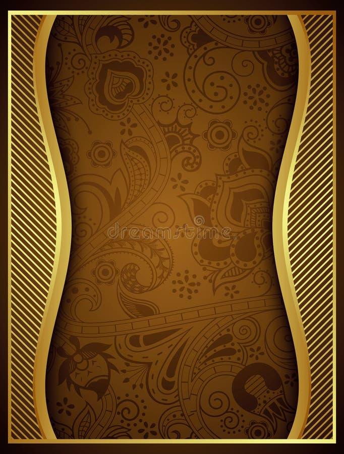 Abstrakt guld- blom- rambakgrund vektor illustrationer