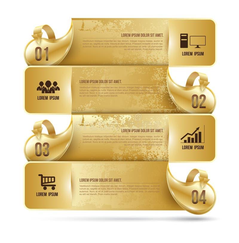 Abstrakt guld för mall för alternativ för affärsinfographicsnummer Vec vektor illustrationer