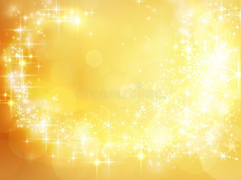 Abstrakt guld- feriebakgrund, julstjärna royaltyfri illustrationer