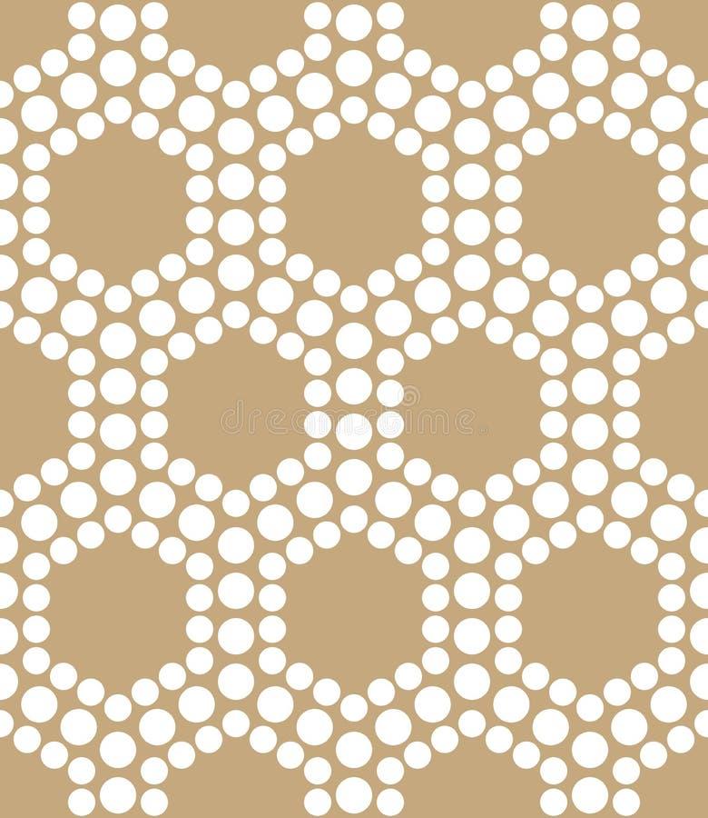 Abstrakt guld- geometrisk modell för prickar för triangeldesignsexhörning royaltyfri illustrationer