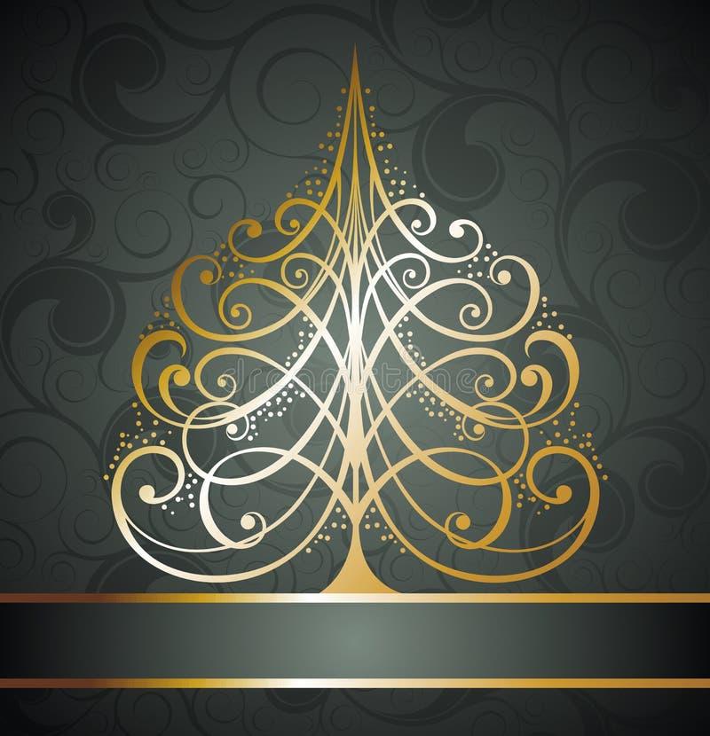 Abstrakt guld- jultreebakgrund royaltyfri illustrationer
