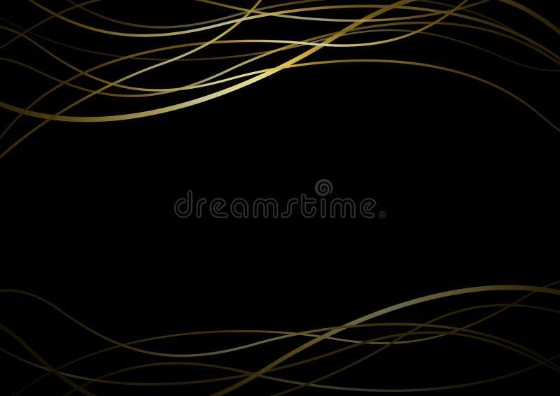 Abstrakt guld- linje baner på svart bakgrundsvektorillustratio vektor illustrationer
