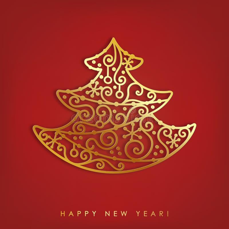 Abstrakt guld och glansigt metalliskt träd Hälsningkort för glad jul med skugga på röd bakgrund stock illustrationer