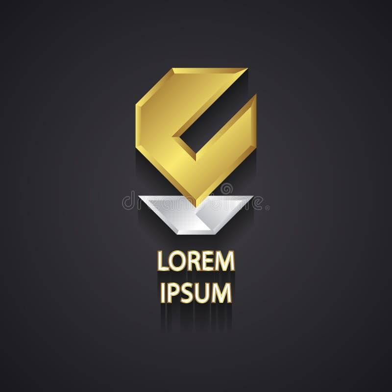 Abstrakt guld och silver Logo Design på grå färger stock illustrationer