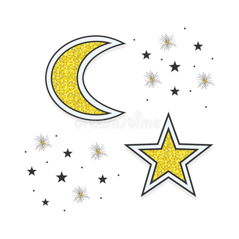 Abstrakt guld- och svart månehalvmånformig och stjärnasymboler i himlen på vit stock illustrationer