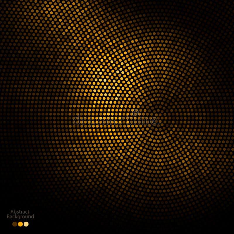 Abstrakt guld- och svartprickbakgrund royaltyfri illustrationer