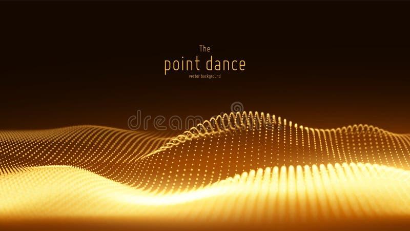 Abstrakt guld- partikelvåg för vektor, punktsamling, grunt djup av fältet futuristic illustration digital teknologi vektor illustrationer