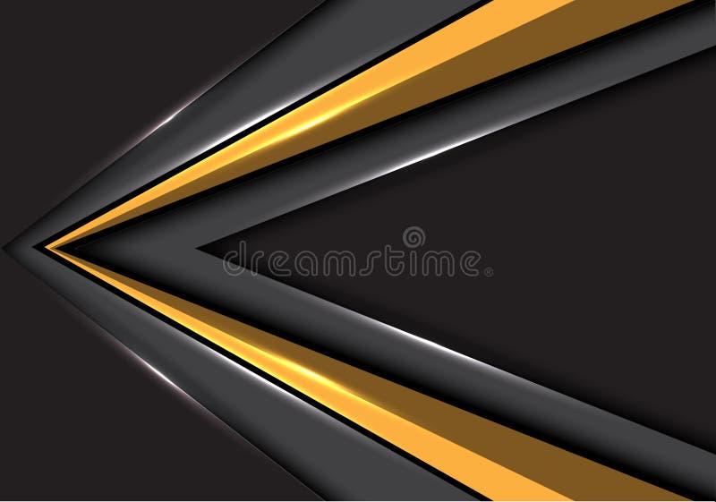 Abstrakt guld- pilhastighetsriktning på grå vektor för bakgrund för design för tomt utrymme modern futuristisk royaltyfri illustrationer
