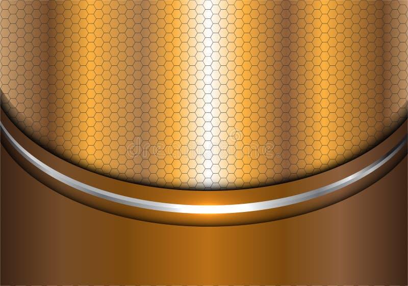 Abstrakt guld- silverlinje vektor för textur för bakgrund för design för kurvsexhörningsingrepp modern lyxig stock illustrationer