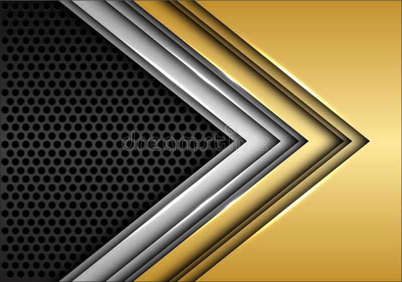 Abstrakt guld- silverpil på mörker - vektor för bakgrund för grå cirkelingreppsdesign modern futuristisk vektor illustrationer
