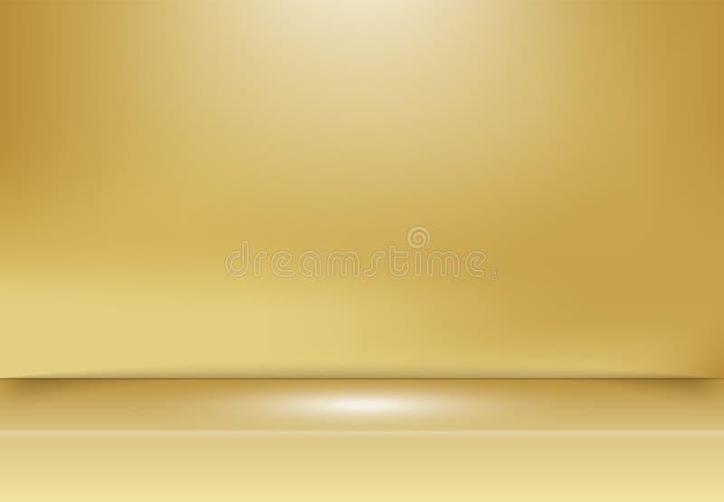 Abstrakt guld- guld- studiobakgrund med belysning på etapp royaltyfri illustrationer