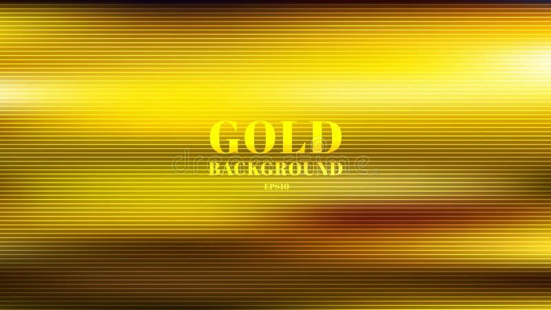 Abstrakt guld- suddig lutningstilbakgrund med texturerade horisontallinjer lyxig slät tapet stock illustrationer
