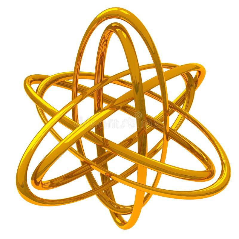 Abstrakt guld- symbol 3d vektor illustrationer