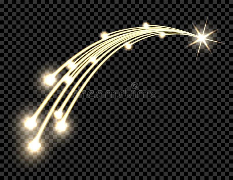 Abstrakt guld- vågdesignbeståndsdel med sken och ljus effekt på en mörk bakgrund Komet stjärnan genomskinligt vektor illustrationer