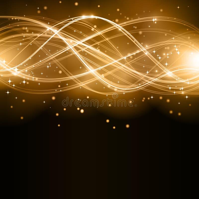 Abstrakt guld- wavemodell med stjärnor royaltyfri illustrationer