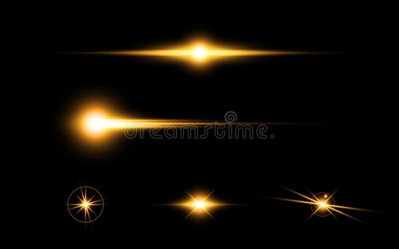 Abstrakt gult begrepp för design för beståndsdelar för effekt för belysning för ljus hastighet för signalljus royaltyfri illustrationer