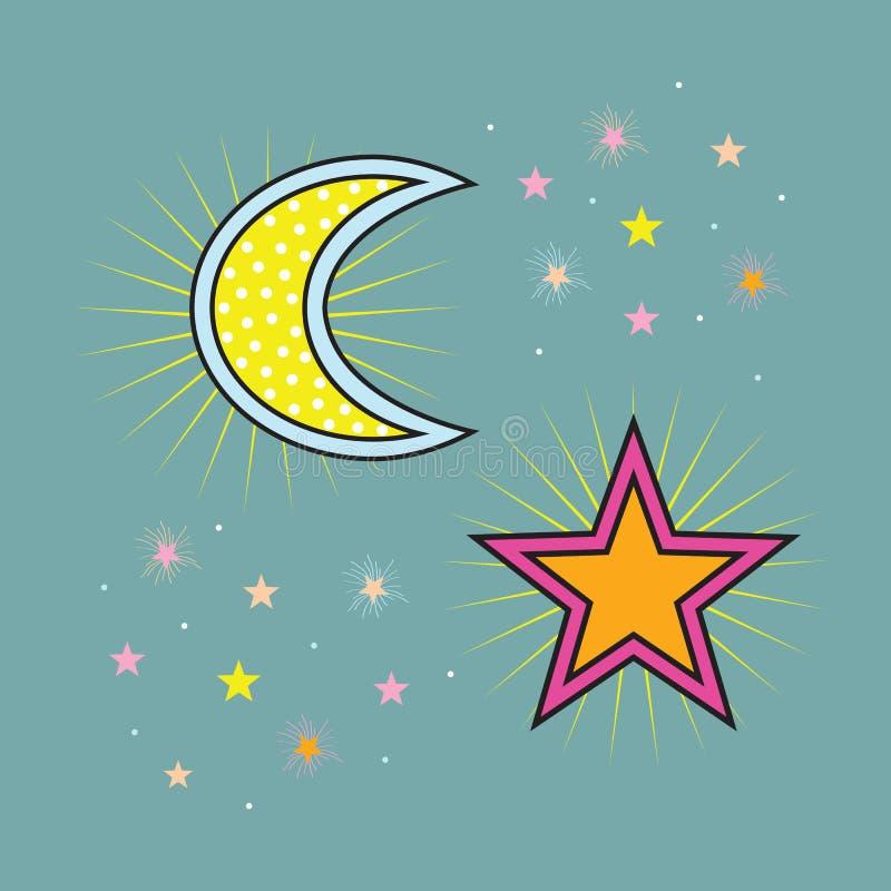 Abstrakt gult prickigt och färgrikt månehalvmånformig och stjärnasymboler i himlen royaltyfri illustrationer