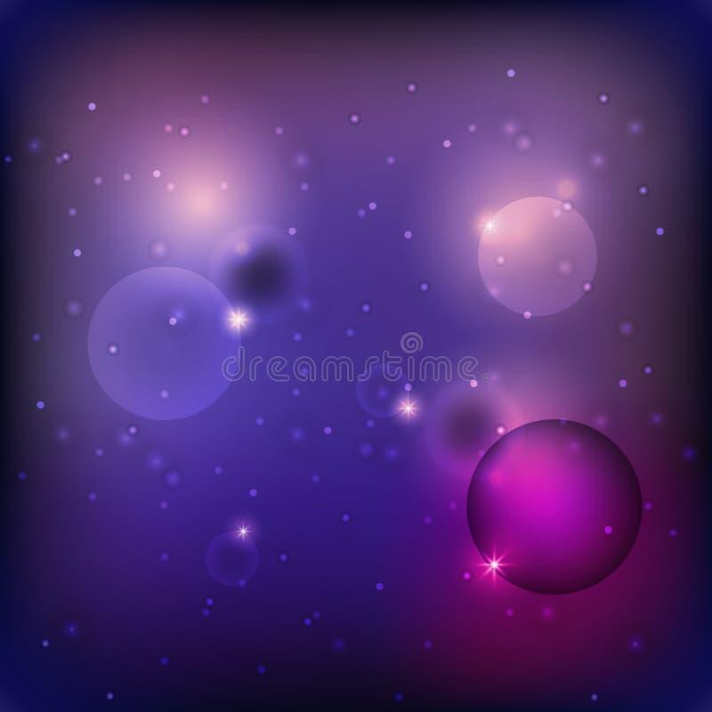 Abstrakt gwiazdy mrugnięcia okrąg na ciemnym purpurowym tle ilustracja wektor