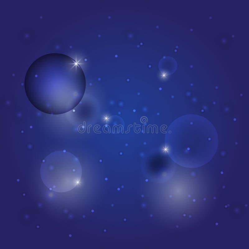 Abstrakt gwiazdy mrugnięcia okrąg na zmroku - błękitny tło ilustracji