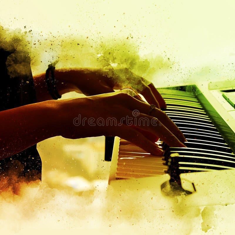 Abstrakt härlig hand en kvinna som spelar tangentbordet royaltyfri bild