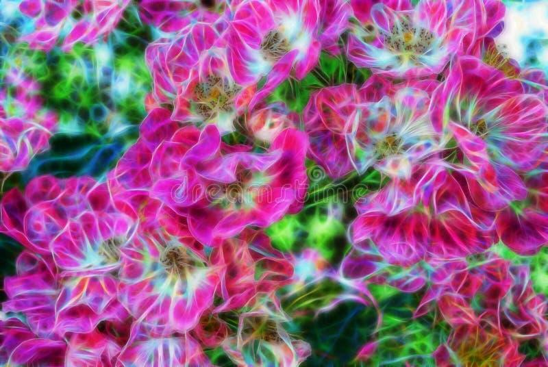 Abstrakt härlig rosa blomma för Fractal stock illustrationer