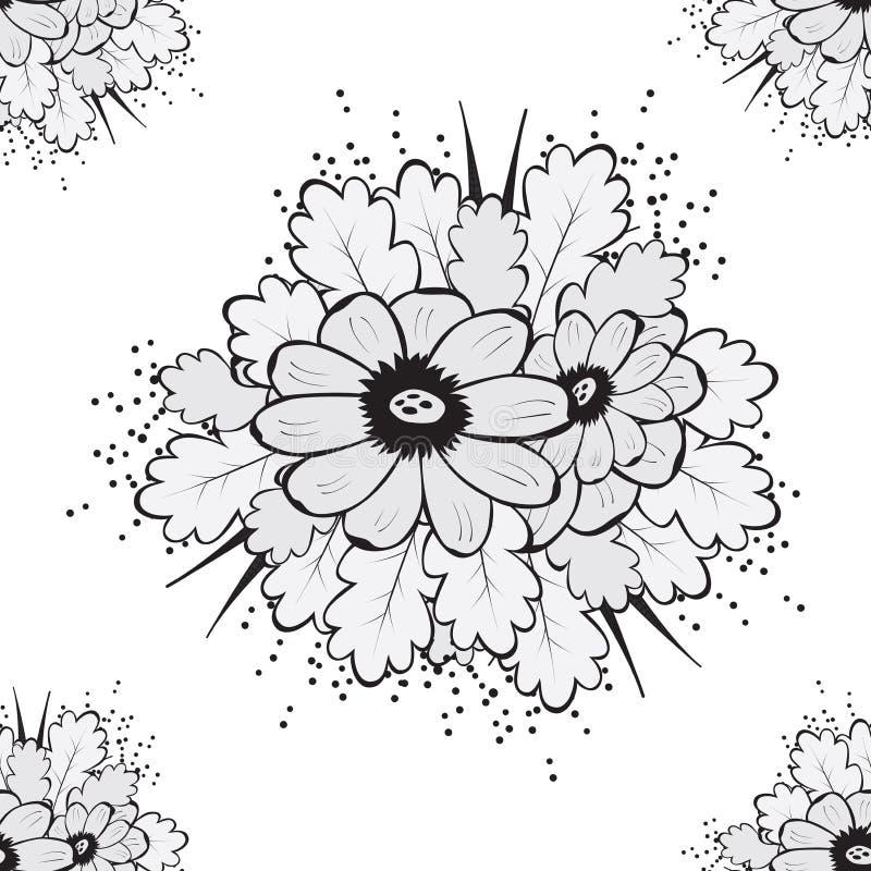 Abstrakt härlig sömlös modell med blomman vektor illustrationer