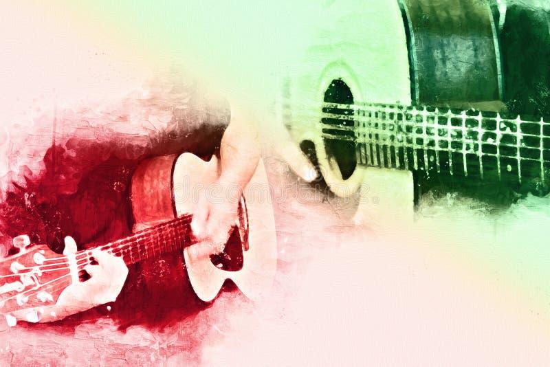 Abstrakt härlig spela gitarr i förgrunden, vattenfärgmålarfärg stock illustrationer