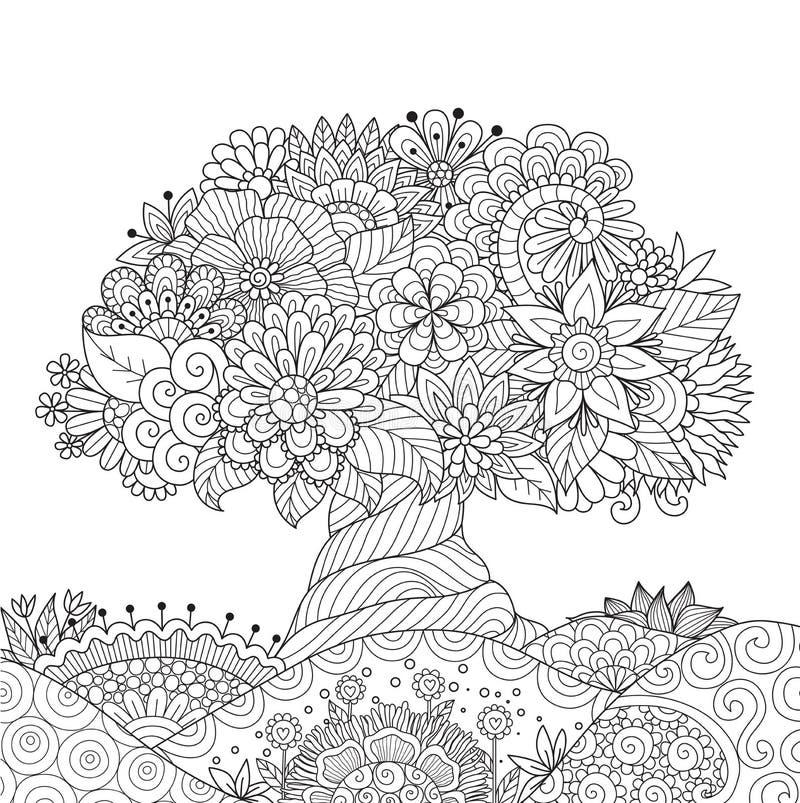 Abstrakt härligt träd för designbeståndsdel och sida för vuxen människafärgläggningbok royaltyfri illustrationer