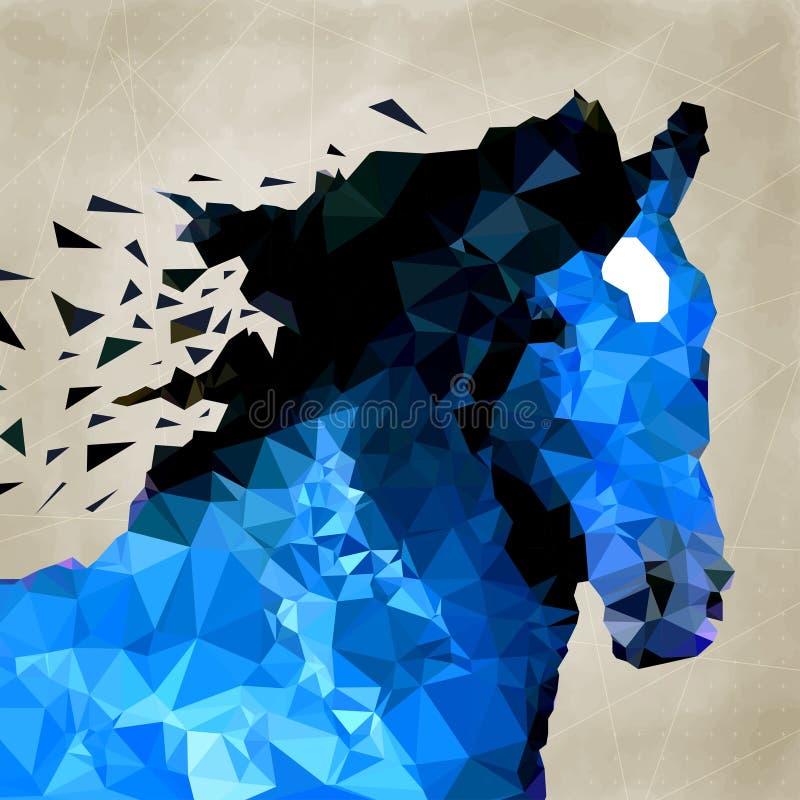 Abstrakt häst av geometrisk form, symbol royaltyfri illustrationer