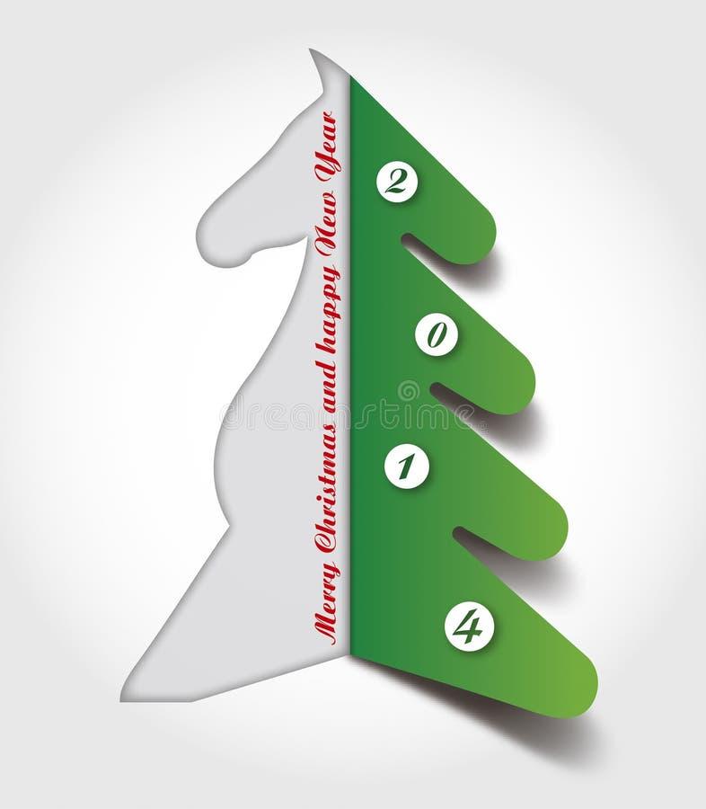Abstrakt häst för pappers- kort för applique och julträd royaltyfria foton