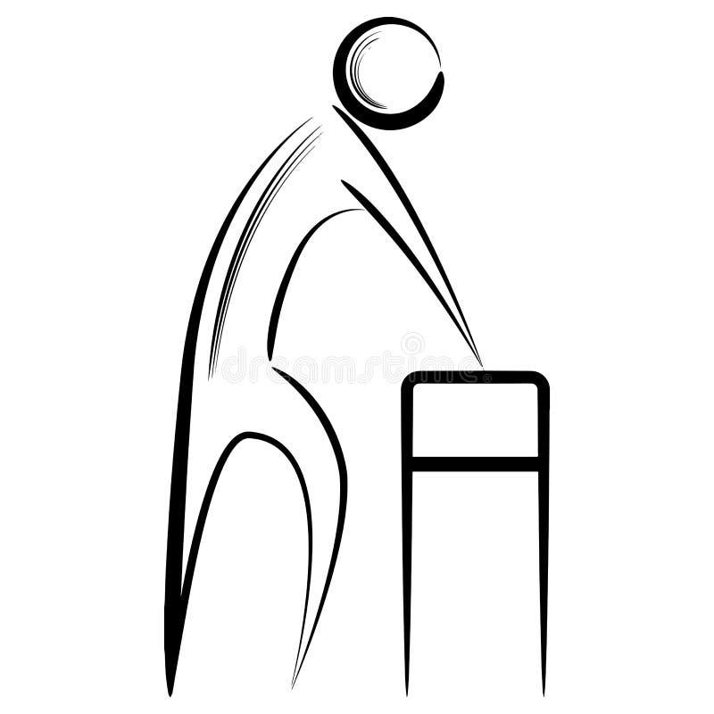 Abstrakt hög man som använder fotgängaren stock illustrationer