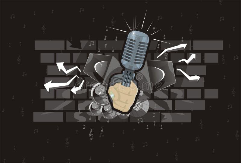 abstrakt högtalare för musik för bakgrundshandmikrofon royaltyfri illustrationer