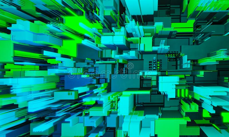 Abstrakt högteknologisk kretskort Bakgrund i blå och grön färg med tryckt kretskort 3d-illustration vektor illustrationer