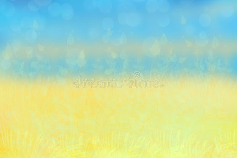 Abstrakt höst eller ljus sommarlandskaptextur med gulingsidor och blå ljus himmel Höst- eller sommarbakgrund med kopian royaltyfria foton