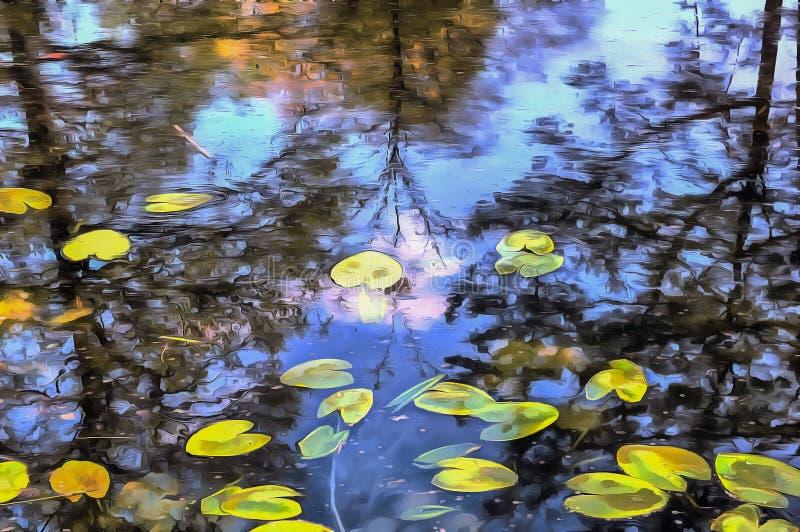Abstrakt höstvattenfärglandskap Sjö temat för fyrkanten för målningen för den abstrakt fantasin för bakgrundssammansättningsdemon fotografering för bildbyråer