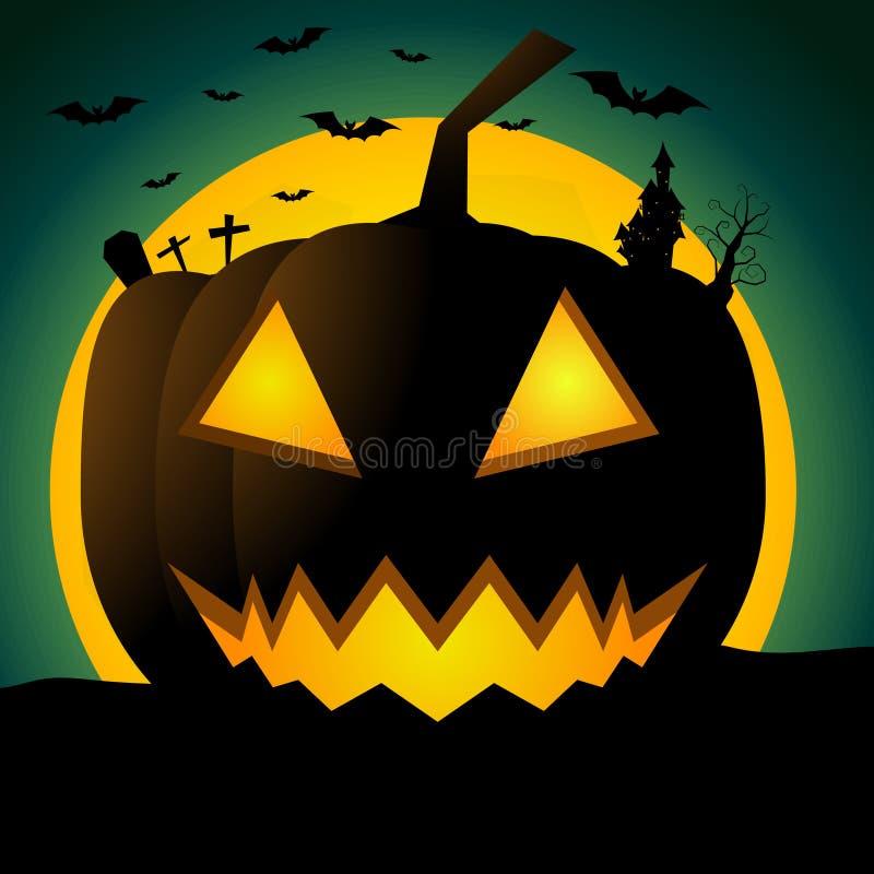 Abstrakt halloween bakgrund med stor pumpa royaltyfri illustrationer