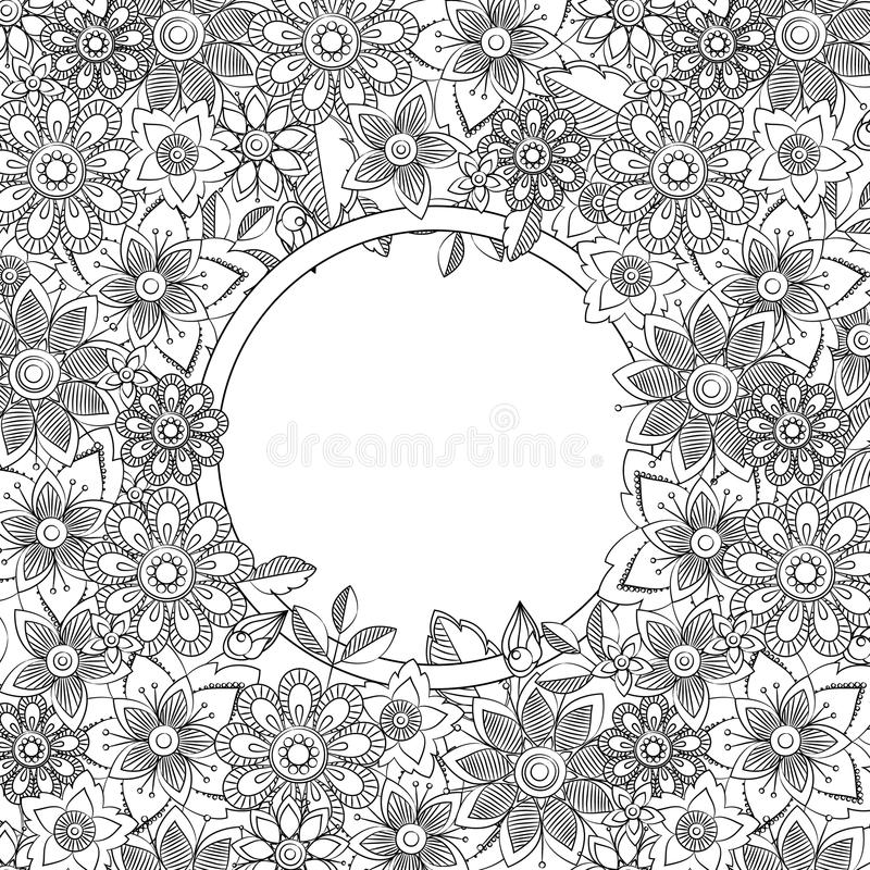 Abstrakt hand dragen botanisk stilram Dekorativ gräns för klotterkonst stock illustrationer