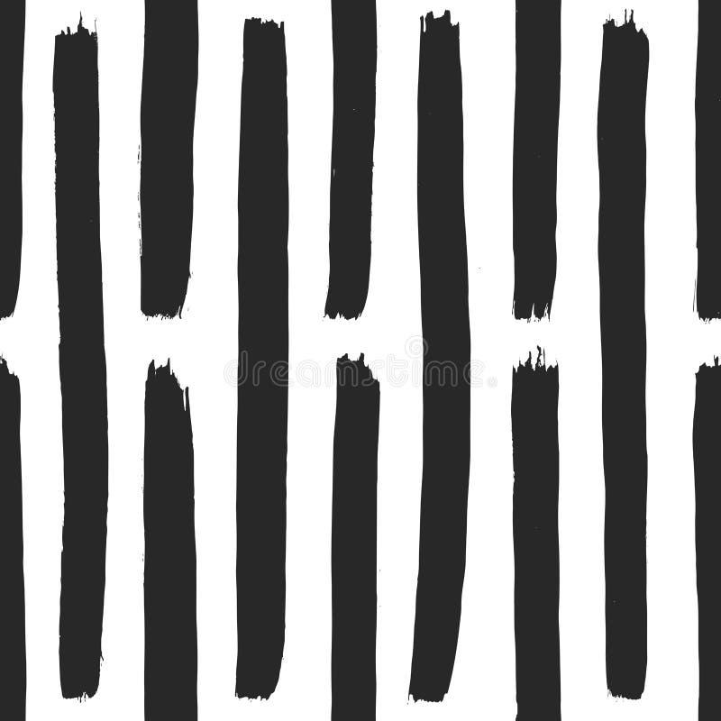 Abstrakt hand dragen gullig svartvit bakgrund Monokrom sömlös modell med målarfärgbeståndsdelar i vektor stock illustrationer