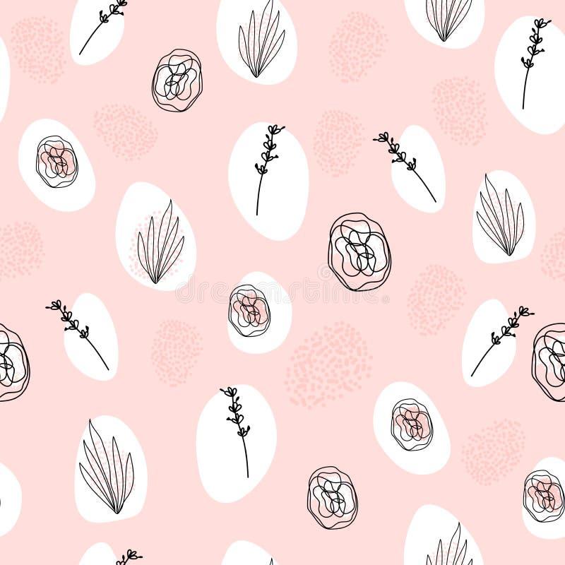 Abstrakt hand dragen sömlös modell för blom- klotter vektor illustrationer