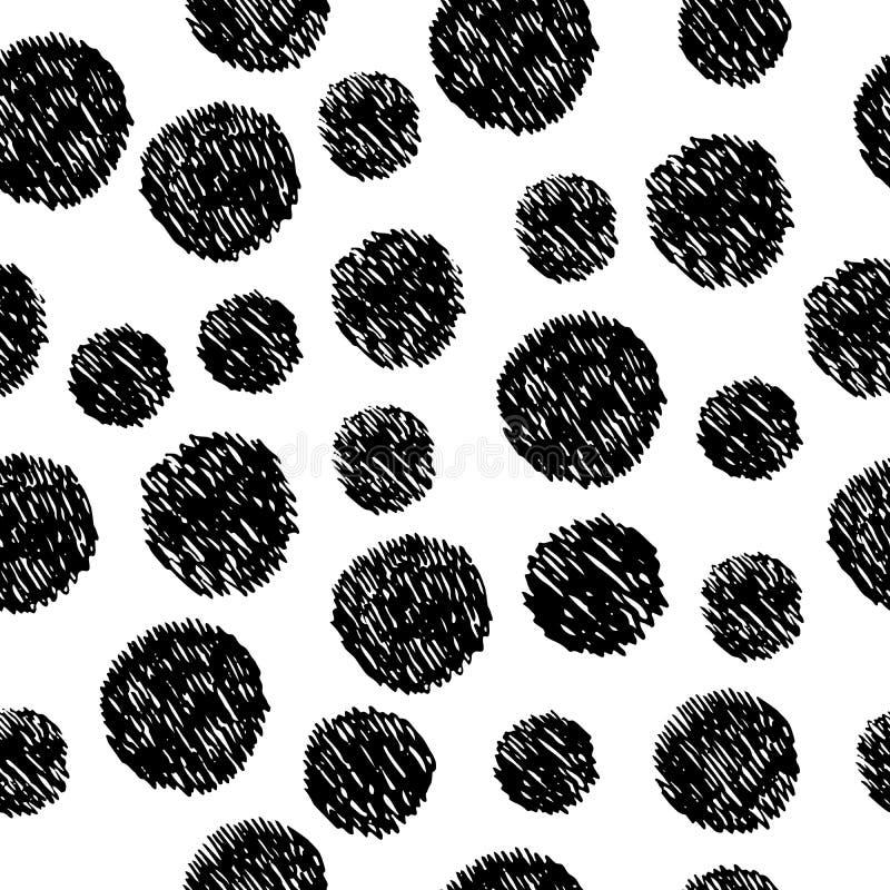 Abstrakt hand dragen sömlös modell med klottercirklar enkelt stock illustrationer