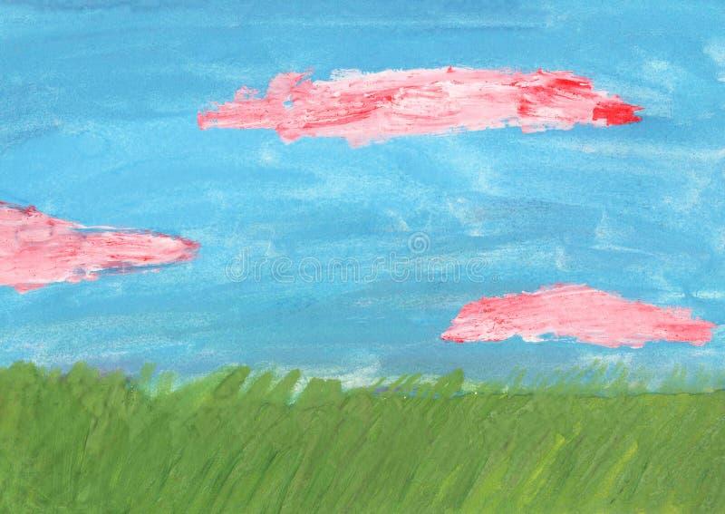 Abstrakt hand målad vattenfärgbakgrund teckna för childs stock illustrationer