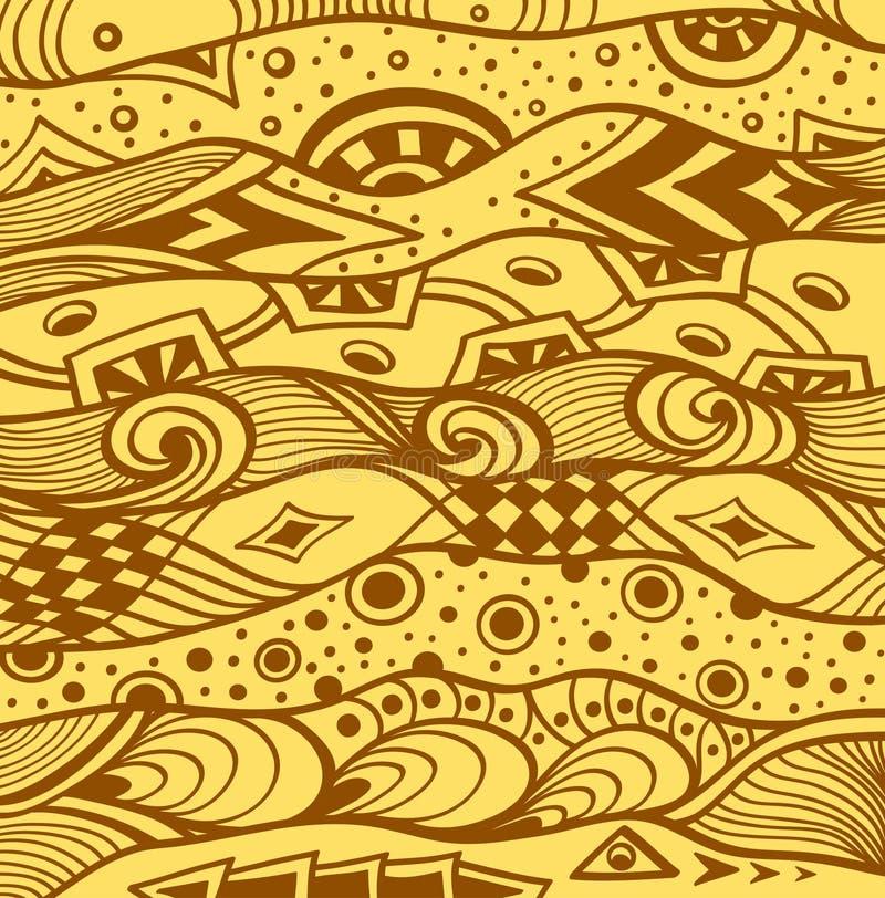 Abstrakt handgjord Ethno Zentangle bakgrund i beigabrunt stock illustrationer