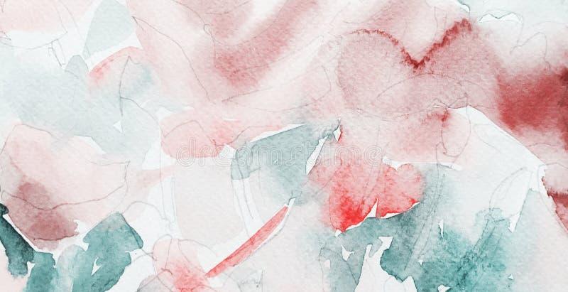 Abstrakt handgjord vattenfärgbakgrund, grungeljusmodell royaltyfri illustrationer