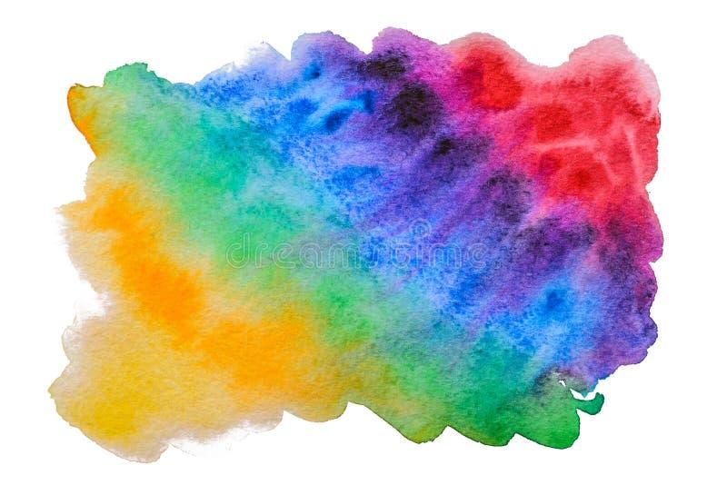 Abstrakt handgjord vattenfärgregnbågefläck royaltyfri fotografi