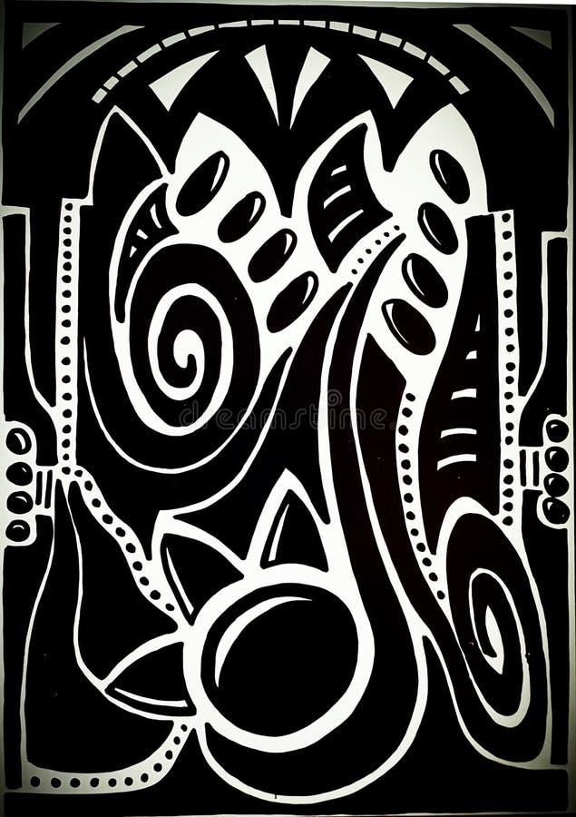 Abstrakt handteckning som inspireras av musik royaltyfri illustrationer