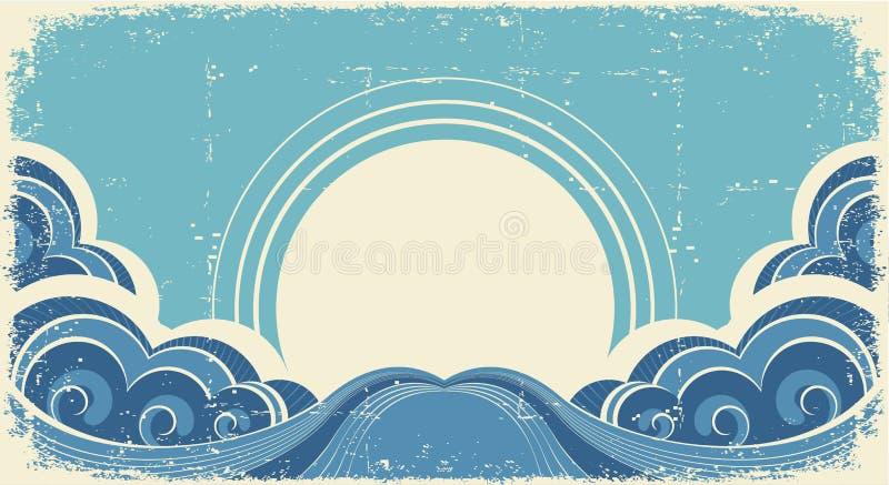Abstrakt havswaves. royaltyfri illustrationer