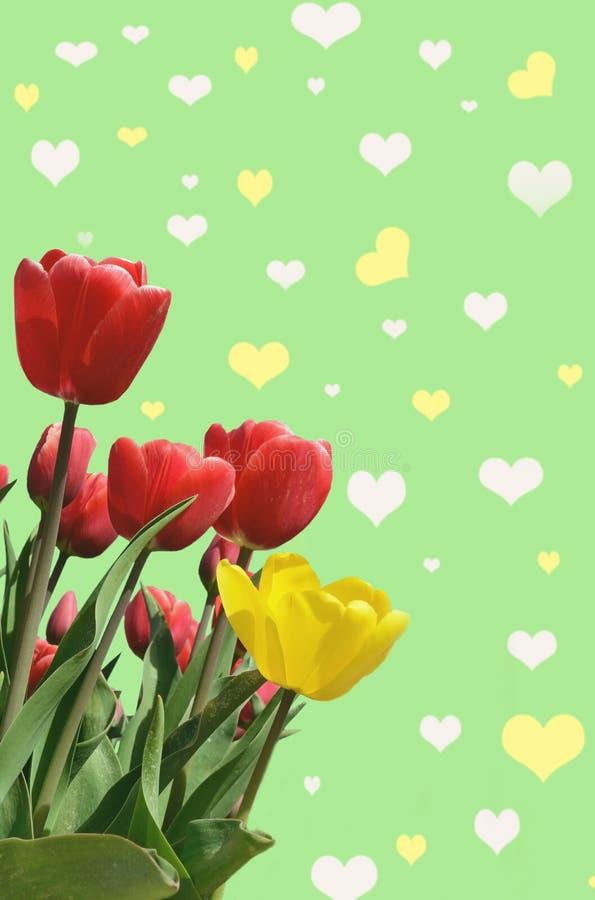 Abstrakt-Hintergrund mit Tulpen für den Gruß mit einem glücklichen Valent stockfoto