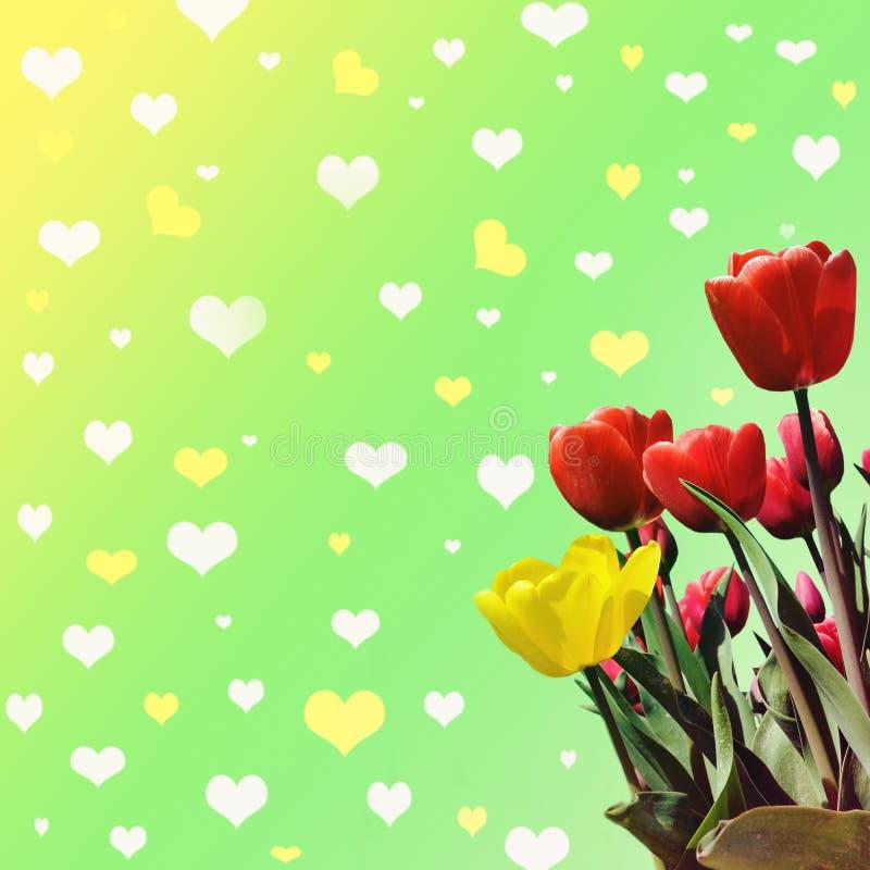 Abstrakt-Hintergrund mit Tulpen für den Gruß mit einem glücklichen Valent stockfotografie