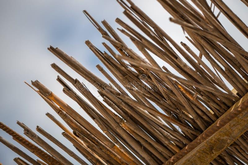 Abstrakt-Hintergrund von der trockenen Bambusniederlassungsbeschaffenheit stockfotos