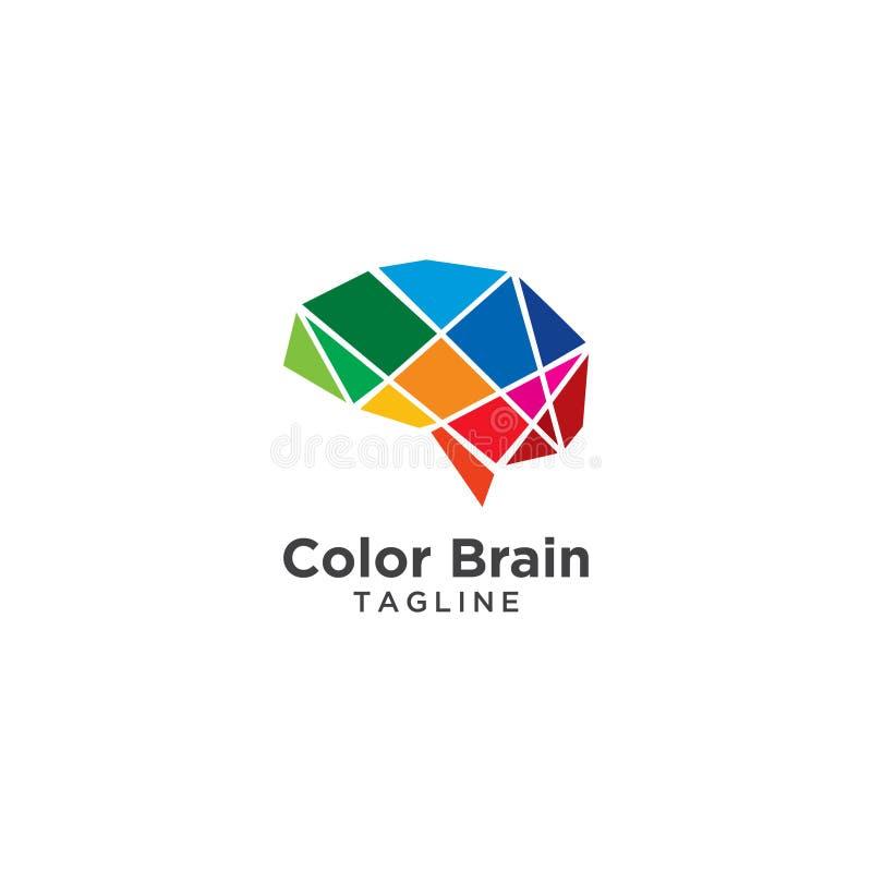 Abstrakt hjärnlogomall royaltyfri illustrationer